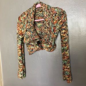 Free People Multicolor Cropped Cardigan